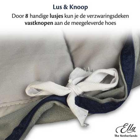Het handige lusjes waarmee je de hoes aan het deken kan vastmaken