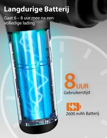 De Maircura massage gun heeft een sterke batterij die tot 8 uur meegaat
