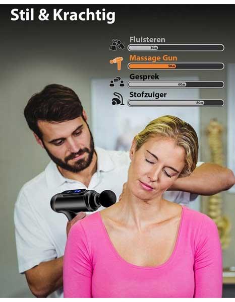 Het maicura massage pistool produceert 50 decibel
